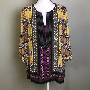 Dana Buchman NWOT Yellow Black Purple Print Top XL